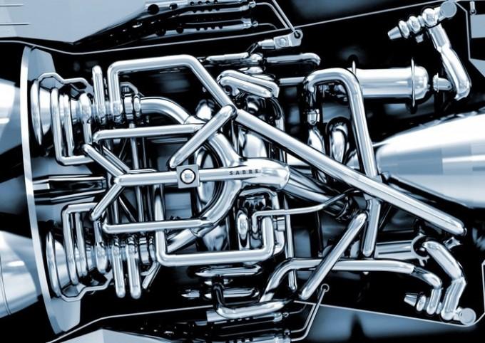 유럽우주국(ESA)는 14일 영국우주국(UKSA)과 공동으로 영국 엔진개발업체 ′리액션 엔진′이 개발중인 하이브리드 엔진 ′세이버(SABRE)′의 시험용 엔진 코어 설계 검토를 마쳤다고 밝혔다. SABRE 엔진의 엔진 코어의 모습이다. 리액션 엔진 제공