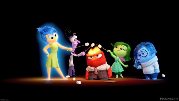 마음 속에서 무슨일이 일어나는지 보여주는 영화 ′인사이드 아웃′. 영화에 등장하는 다섯 감정들이다. 왼쪽부터 각 캐릭터는 기쁨, 공포, 분노, 경멸, 슬픔을 나타낸다. 네이버영화 스틸컷