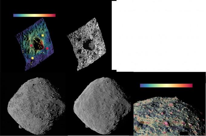 미국항공우주국(NASA)의 소행성 탐사선 '오시리스 렉스'가 조사한 소행성 '베누'의 표면 특성은 다양하다. 비균질한 특성과 표석의 존재, 작은 충돌구가 부족한 점 등을 통해 연구팀인 베투가 비교적 최근 탄생했을 것이라 추정했다. 류구와 달리 베누는 수분이 많았다. 사진 제공 네이처 지구과학