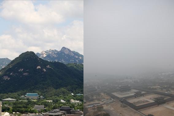 수도권 미세먼지 비상저감 조치가 발령된 5일과 맑은 날의 경복궁 일대의 모습이다. 연합뉴스