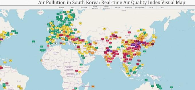 6일 전세계 대기질 상태. aqicn.org 제공