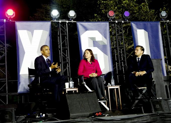 리어나도 디캐프리오와 캐서린 헤이호가 2016 년 10 월 3 일 미국 워싱턴 DC의 백악관 남쪽 잔디밭에서 열린 기후 변화에 관한 패널 토론에 참석했다. 연합뉴스제공