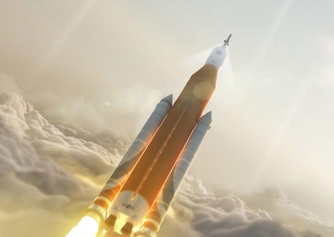 미국에서 개발 중인 대형 발사체 SLS 블록1의 발사 상상도. 사진 제공 NASA