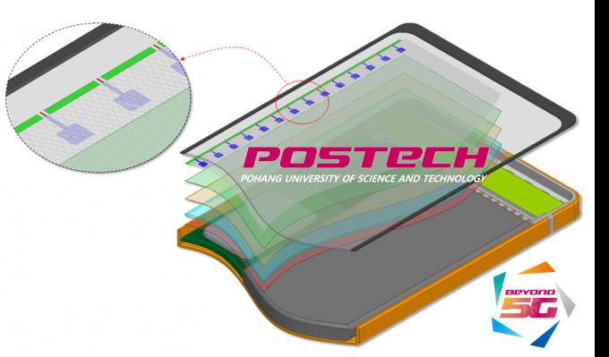 포스텍과 국내 기업 공동연구팀이 개발한 디스플레이 내장형 안테나의 모습이다. 나란히 줄지어 배열된 파란색 부분이 안테나다. 사진제공 포스텍