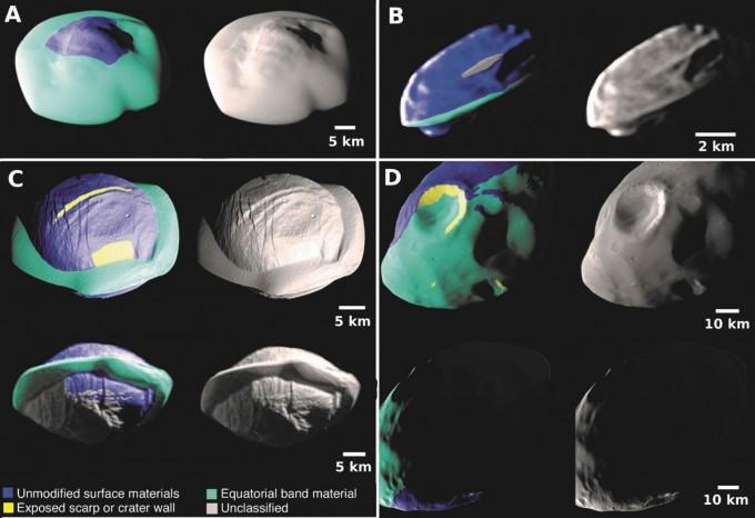 토성의 고리와 공전궤도가 겹치거나 가까운 내부 초소형 위성의 형태와 구성, 특징이 새롭게 밝혀졌다. A부터 차례로 아틀라스, 다프니스, 판, 판도라의 형태와 성분을 표시했다. 녹색 부분이 적도를 따라 허리띠처럼 형성중인 언덕으로, 고리 또는 바깥의 중형위성 엔켈라두스의 분출물로 이뤄진 것으로 나타났다. 사진제공 사이언스