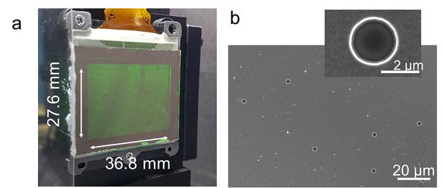 실제 구현된 3차원 홀로그래픽 디스플레이와 전자현미경 이미지를 나타냈다. KAIST 제공