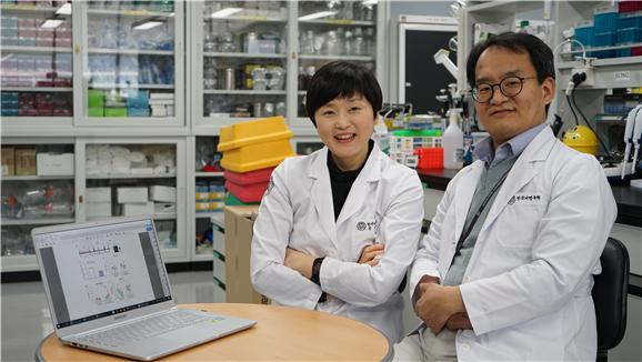 정윤하 한국뇌연구원 뇌질환연구부 선임연구원(왼쪽)과 구자욱 책임연구원이 연구결과를 보이고 있다. 한국뇌연구원 제공