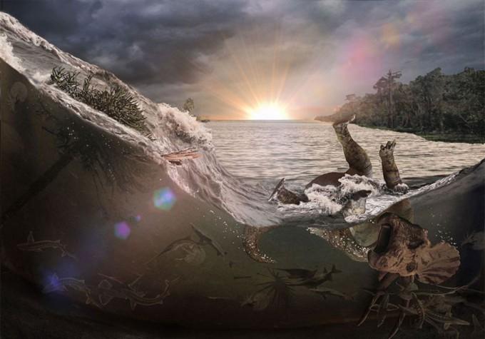 미국 연구팀이 노스다코타의 지층을 관찰해 공룡이 멸종한 주 원인이 칙술루브 소행성 충돌이라는 연구 결과를 발표했다. 그림은 쓰나미에 휩쓸린 동식물을 상상한 것. 로버트 드팔마 제공