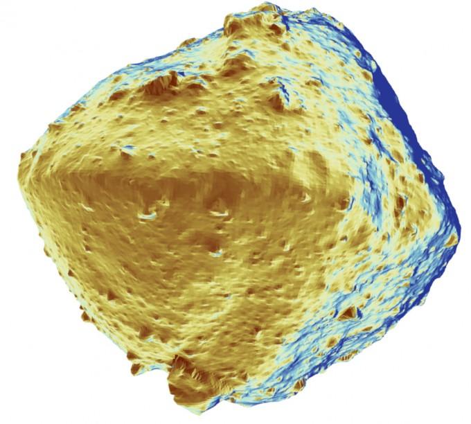 일본우주항공연구개발기구(JAXA)가 소행성탐사선 '하야부사2'로 관측한 소행성 '류구'의 첫 번째 데이터를 분석해 20일 공개했다. 사진은 류구를 색을 혀실과 다르게 입혀 찍은 영상이다. 실제의 류구는 어두운 빛을 띤다. 사진 제공 도쿄대