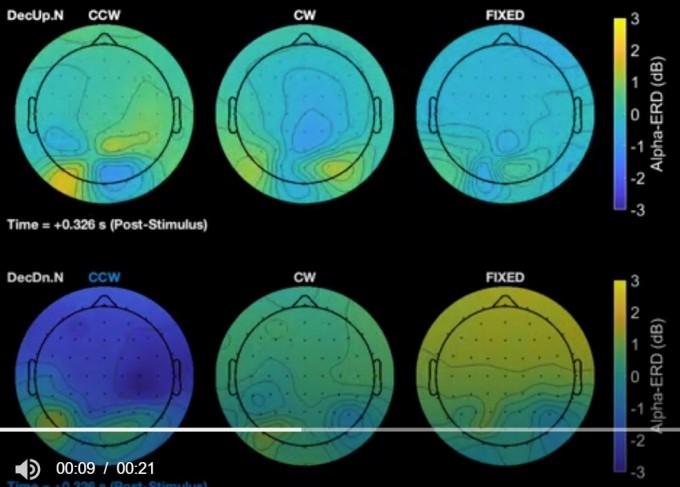 지구자기장 세기의 자기력선이 위쪽을 향한 상태에서는 시계반대방향이나 시계방향, 고정 상태에서 모두 알파파에 유의미한 변화가 없었다(위 왼쪽부터). 반면 아래쪽을 향한 상태에서 시계반대방향으로 회전했을 때만 알파파가 감소하는 것으로 나타났다(아래 왼쪽 파란색). '이뉴로' 제공
