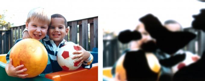 동일한 장면을 건강한 사람이 봤을 때(왼쪽)와 당뇨망막병증을 앓는 사람이 봤을 때(오른쪽). 미국국립안연구소, NIH 제공