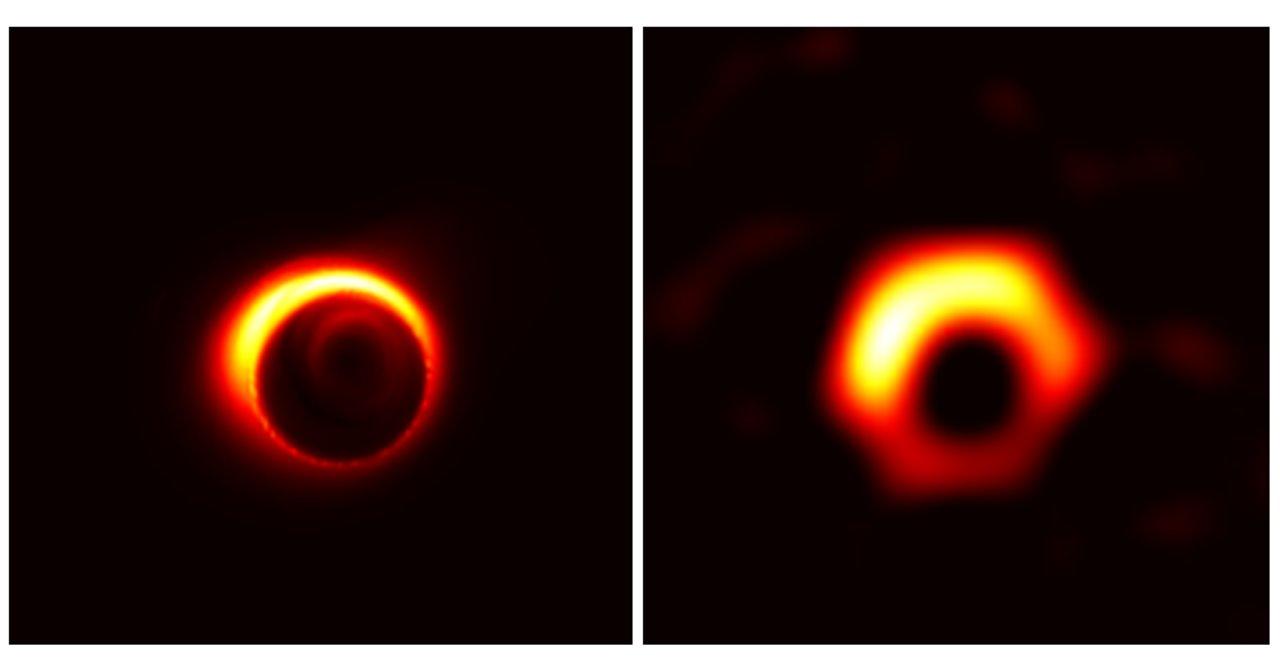M87 은하의 중심에 있는 블랙홀 시뮬레이션 이미지