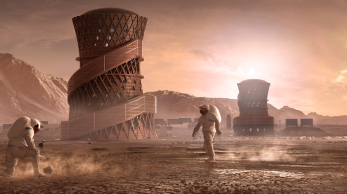 NASA는 28일 3D 프린팅 우주 기지 경연대회의 중간 평가 결과를 공개했다. 우승을 차지한 ′SEArch+/Apis Cor′팀의 우주 기지 상상도다. SEArch+/Apis Cor 팀 제공