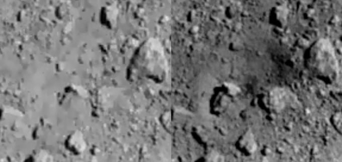일본의 무인 소행성 탐사선 하야부사2가 금속 물체를 쏘아 만든 인공 충돌구(크레이터). 크기는 약 20m로, 하야부사2는 나중에 충돌로 나온 지하 물질을 채취해 귀환할 예정이다. 사진제공 JAXA