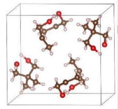 NPG 결정구조. 네오펜틸글리콜 분자로 이뤄진 유연한 결정의 단위 구조를 나타내는 그림이다. 갈색이 탄소원자, 빨간색이 산소원자다.  '네이처' 제공