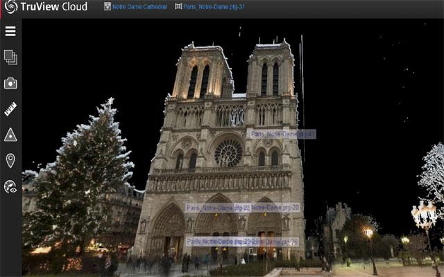 앤드루 탤런 전 미국 배서대 교수가 측정한 데이터를 바탕으로 3D 스캐너 기업 '라이카 지오시스템'이 재현한 노트르담 대성당의 모습이다. 라이카 지오시스템 제공