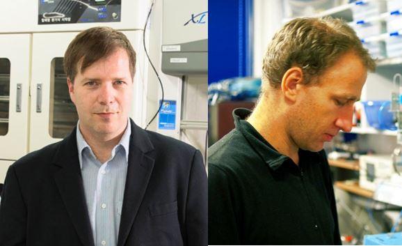 기초과학연구원(IBS)는 바르토슈 그쥐보프스키(왼쪽) 첨단연성물질연구단 그룹리더와 올게르 시불스키(오른쪽) 연구위원 연구팀이 아주 얇고 긴 관에 흐르는 액체방울에서 네트워크 주기운동의 원리를 알아냈다고 24일 밝혔다. IBS 제공