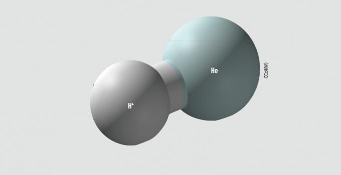최초의 분자 이온으로 추정되는 수소이온화헬륨(HeH+) 의 구조도, 헬륨(He)과 수소이온(H+)이 결합된 형태다. CCoil/위키피디아