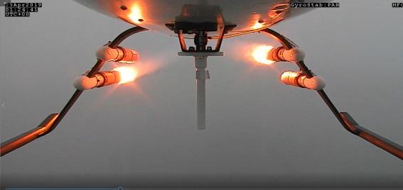 공중에서 연소탄이 원격 점화되는 순간을 찍었다. 사진제공 과학기술정보통신부
