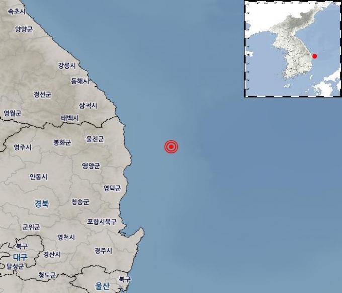 22일 새벽 5시 45분 발생한 경북 울진 38km 해역 지진. 규모 3.8로 올해 한반도 남부에서 발생한 지진 가운데 세 번째로 강했다. 사진제공 기상청