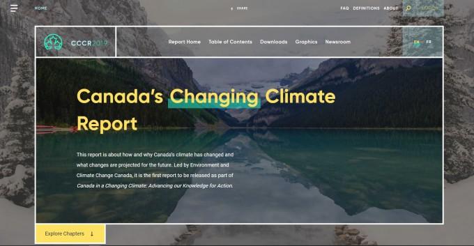 캐나다 연방정부가 캐나다 기후변화 리포트(CCCR)를 공개한 홈페이지(changingclimate.ca/CCCR2019)