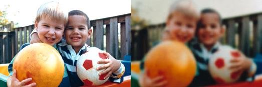 동일한 장면을 백내장이 있는 사람의 시야로 봤을때(오른쪽). 카메라렌즈로 비유하면 렌즈가 탁해진 것처럼 보인다. 미국국립보건원 제공