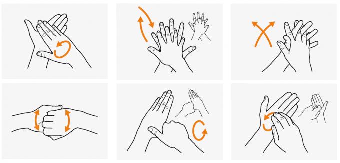 WHO가 제시한 손 씻기 방법. 알코올 세정제를 이용해 30초간, 물과 비누를 이용해 60초간 그림처럼 6단계를 거쳐 손을 씻으라고 제안했다. WHO 제공