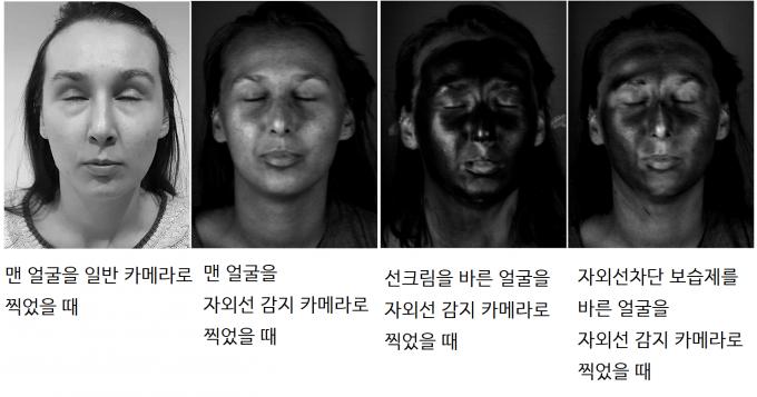 영국 리버풀대 의대 안과 연구팀이 실험참가자들에게 자외선차단제를 평소 습관대로 바르게 한 뒤 자외선 감지 카메라로 촬영한 결과. 평균적으로 얼굴 면적의 11.1~16.6%인 눈 주변을 빼놓고 바르는 것으로 나타났다. 플로스원 제공