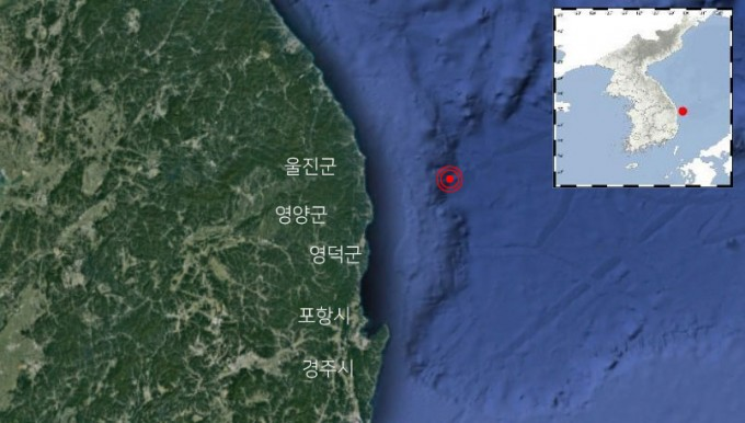 22일 새벽 5시 45분 발생한 경북 울진 38km 해역 지진. 규모 3.8로 올해 한반도 남부에서 발생한 지진 가운데 세 번째로 강했다. 사진제공 기상청, 구글어스
