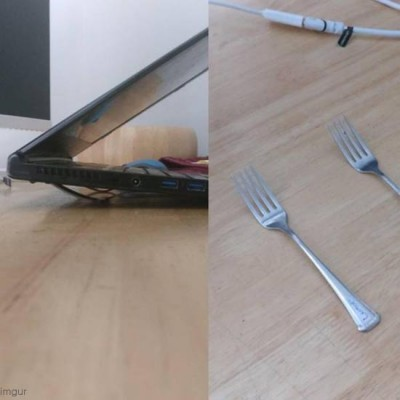 포크로 만든 노트북 거치대