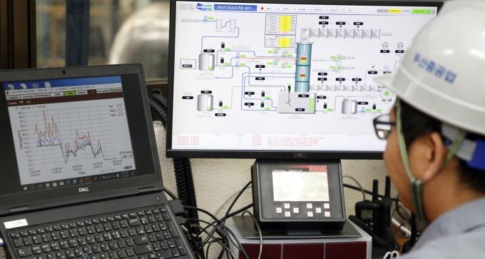 경남 창원 두산중공업에서 국내 석탄화력발전소용 파일럿 EME 설비의 운전 및 효율을 모니터링이 이뤄지고 있다. 한국기계연구원 제공
