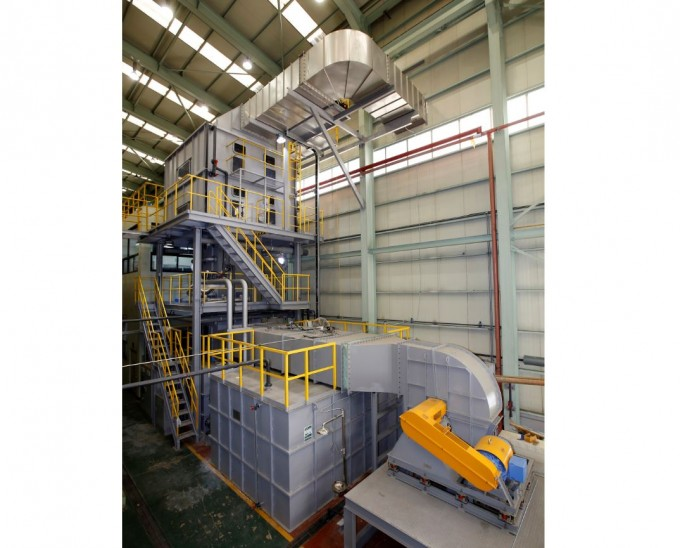 경남 창원 두산중공업 본사에 국내 석탄화력발전소용 파일럿 EME 설비가 장착되어 있다. 한국기계연구원 제공