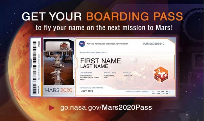 미국항공우주국(NASA)은 2020년 7월에 발사될 화성탐사선 ′마스 2020′을 알리기 위해 화성에 이름을 실어보내는 서비스를 제공하기로 했다. NASA 제공