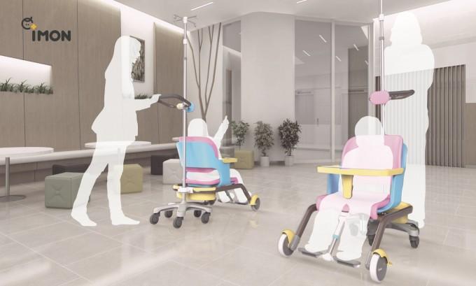 어린이용 링거 거치대는 어린이의 병원 공포를 줄일 수 있도록 인간공학 기법으로 설계됐다. UNIST 제공
