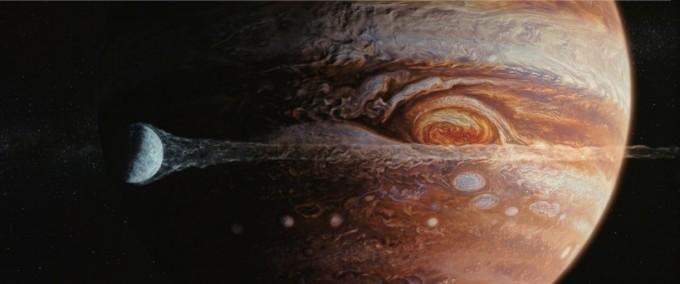 목성에 다가가는 지구. 미국 할리우드 영화 못지 않은 정교한 CG로 목성의 모습을 강렬하게 표현했다. 씨네그루(주)키다리이엔티
