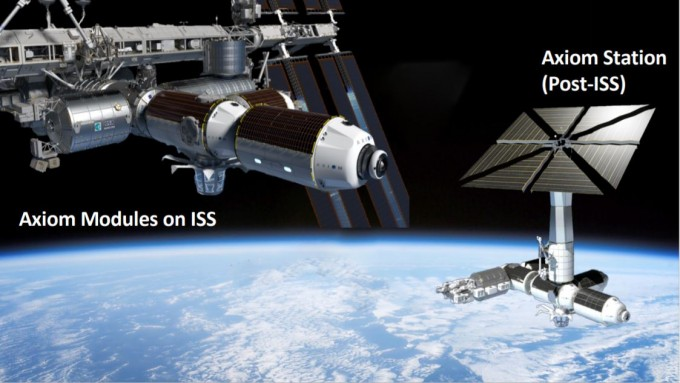 액시엄스페이스가 제안한 국제우주정거장(ISS) 모듈과 ISS 포스트. NASA 제공