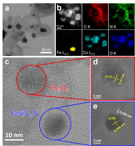 연구팀이 개발한 금속 복합촉매를 투과전자현미경으로 촬영했다. 마치 피자 도우처럼, 얇은 평면 형태의 질소 함유 그래핀(C2N)을 준비한 뒤 위에 C2N으로 감싼 철을 토핑처럼 올리고, 산화 코발트 역시 토핑으로 올렸다. C에서 붉은 동그라미로 표시한 부분이 산화코발트, 파란 동그라미 표시가 C2N으로 감싼 철이다. 사진제공 UNIST