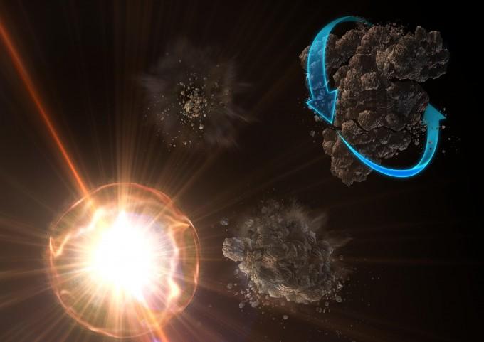 지름 수십nm의 고운 우주먼지의 존재는 천문학의 미스터리 중 하나였다. 국내 연구팀이 강한 빛이 우주먼지를 회전시켜 더 고운 먼지로 만드는 과정을 밝혔다. 사진제공 한국천문연구원