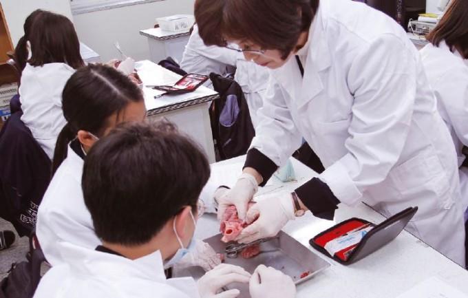 김정민 교사가 대전외삼중 영재학급 수업 중 학생들의 해부 실험을 지도하고 있다. 신용수 기자