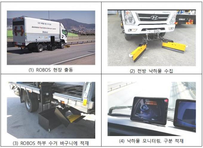 ROBOS가 도로에 떨어진 낙하물을 수거하는 과정. 한국건설기술연구원 제공