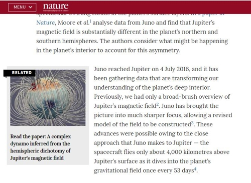 지난해 9월 연구팀은 주노 탐사선의 자료를 분석한 결과, 목성의 자기장이 지구와 다르며, 이는 독특한 행성 내부 구조에서 비롯됐을 것이라 발표한 바 있다.  네이처 제공
