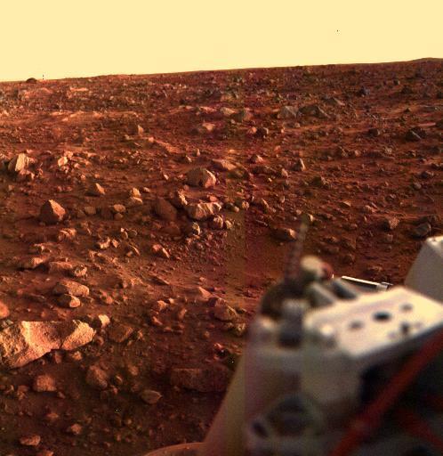 바이킹 1호가 1976년 8월 21일 화성의 일몰을 최초로 찍어 전송했다. NASA 제공