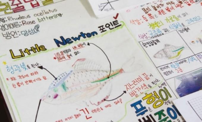 민물고기 모니터링 후 학생들이 작성한 보고서. 세심한 관찰력과 창의적 분석이 돋보인다. 이영혜 기자