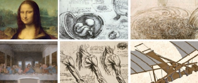 (상단 왼쪽부터) 레오나르도 다빈치의 다양한 면모를 보여주는 모나리자, 태아 상상 해부도, 유체역학 연구, 최후의 만찬, 팔근육 해부도, 비행기기 제작 자료. 수학동아 5월호 제공