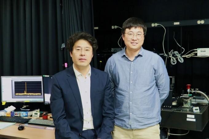 상온에서 구동 가능한 폴라리톤 레이저 기술을 개발한 조창희 교수(왼쪽)와 강장원 리서치펠로우(오른쪽). DGIST 제공