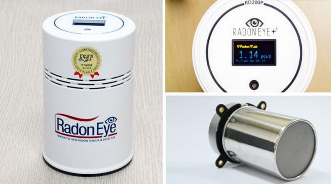 라돈 측정기인 라돈 아이 제품의 모습이다. 원통 모양으로 내부에는 이온화 챔버를 사용한 라돈 가스 측정 센서가 들어 있다. 측정 시간은 10분 계측기 감도는 전문가 수준이다. 에프티랩 제공