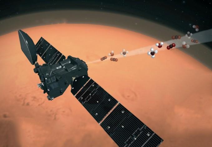 유럽과 러시아는 2016년 화성탐사선 ′엑소마스(ExoMars)′를 화성 궤도에 진입시켰다. 엑소마스에 실렸던 가스추적궤도선(TGO)이 화성대기에서 메탄을 검출하는 상상도다. ESA