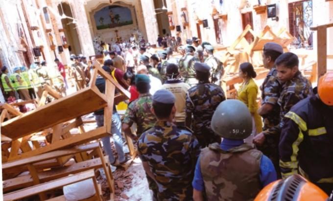 2019년 4월 21일 스리랑카 네곰보의 성 세바스티안 성당에서 발생한 폭탄 테러 참사 현장. 연합뉴스