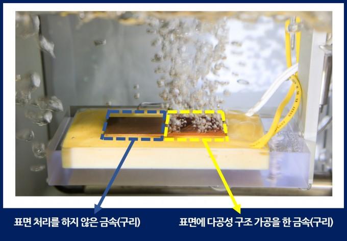 연구팀은 금속 표면을 다공성 구조로 가공을 했을 때 끓는 현상이 훨씬 잘 일어나는 것을 보여주기 위해 표면처리하지 않은 구리와 다공성 구조 가공을 한 구리의 끓는 속도를 비교하는 실험을 했다. 은 온도의 조건에서 다공성 구조 가공을 한 오른쪽 표면은 물이 끓어오르는 현상이 일어나지만 왼쪽에서는 변화가 없음을 볼 수 있다. 기계연 제공