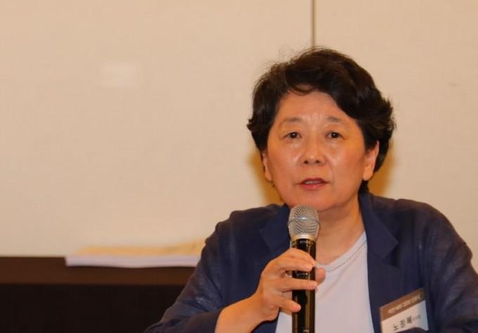 노정혜 한국연구재단 이사장이 20일 서울 중구 더플라자호텔에서 열린 '비전 2030 선포식 및 정책포럼에서' 간담회를 가졌다. 한국연구재단 제공